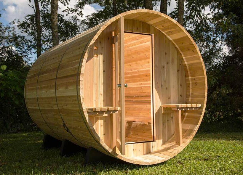 Sauna barrel weston al exterior